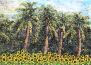 Florida palm tree in sunflowers